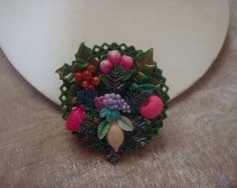 Vintage Round Fruit Salad Celluloid Brooch Pin