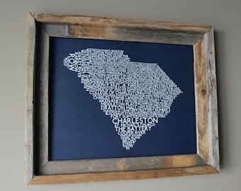 Charleston South Carolina Word Map (Dark Blue) - Unframed