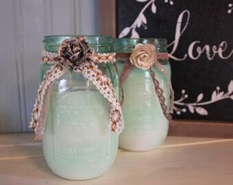 Handmade Mint Green Mason Jar 100% Soy Wax Candle-Sweet Orange & Lemon Scent