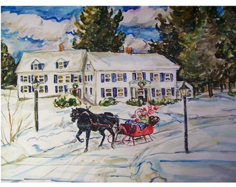 RIDING In The One Horse Sleigh -painting  original landscape watercolor one-of-a-kind 11x15, Winter,Snow, Seigh, Horse, Woods, Inn, Forest
