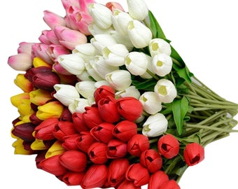 Lot of 10 pcs White Real Touch Artificial Tulips White Red Orange Yellow Red Purple Tulip Flower Latex for Wedding Bouquet DIY Home decor