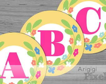 Spring Banner Letter - Alphabet A-Z - Numbers 0-9 - Printable Spring Party Decor - Yellow Banner Circles with Flower Wreath