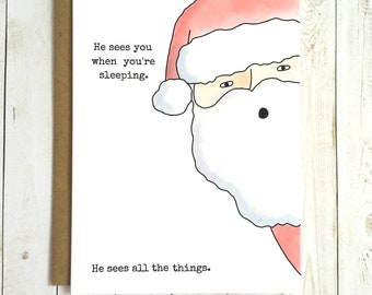Creepy Santa Card, Funny Christmas Card, Funny Card, Creepy Christamas Card, Santa Clause Card, Cute Christmas Card, Creepy Santa Card
