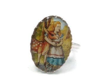 Alice in Wonderland Ring Size 6- Sterling Silver and Resin