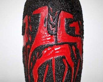 Gigantic black lava horse vase by Scheurich 553-52, West German Pottery, 60'ties