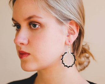 Black and Silver Wire Wrapped Hoop Earrings, Black Dangle Earrings, Earrings For Prom, Black Beaded Earrings, Hoop Earrings