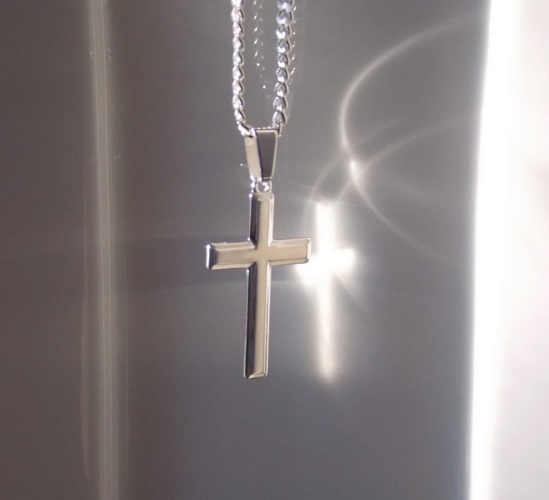 Man cross necklace boyfriend gift silver cross necklace zoom aloadofball Choice Image
