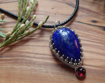 Starry Night ~ lapis lazuli and garnet sterling silver necklace ~ pyrite ~ yoga ~ gypsy ~ bohemian