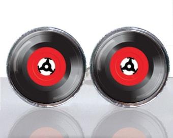 Round Glass Tile Cuff Links - Retro Record CIR106