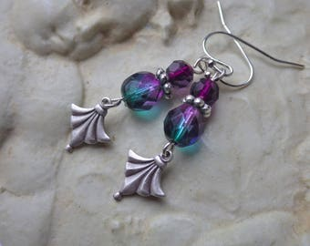 Green Purple Earrings ~ Silver Earrings ~ Small Glass Dangles ~ by WakesTheDawn