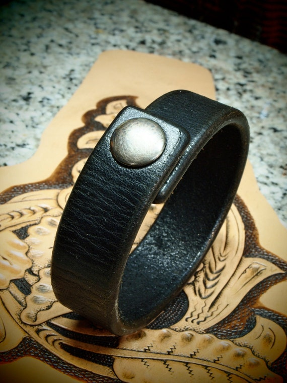 Black leather bracelet snap cuff beautiful distressed American Bridle Leather Thin and Sexy handmade for You in USA by Freddie Matara