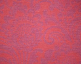 Retro Wallpaper by the Yard 70s Vintage Wallpaper – 1970s Red and Purple Floral Damask