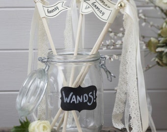 Wedding Wands - 10 pk - Vintage look Lace and Cream satin- alternative to confetti - NK0158