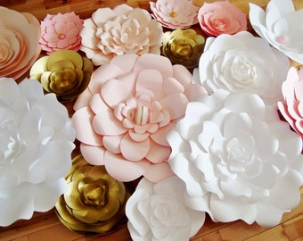 35 Paper Flowers | Paper Flower Wall | Backdrop for Weddings | Event Wall Decor | Head Table Backdrop | Photo Booth Wall Decor