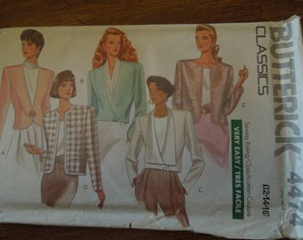Butterick 4474, sizes 12-16, unlined jacket, UNCUT sewing pattern, craft supplies, misses, womens