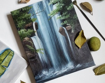"""Original oil painting, landscape, small painting, wall decor, Waterfall, Ready to hang, """"Refresh"""""""
