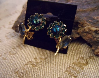 Green and Turqoise Blue Flower Clip On Earrings