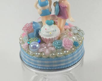Assemblage Art Trinket Party Favor Jar  --  Bathing Beauties