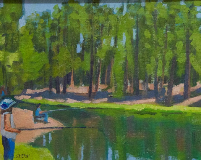 Landscape Painting Fishing the Deschutes River July 4th at Bull Bend Campground Original Sherri McDowell Art