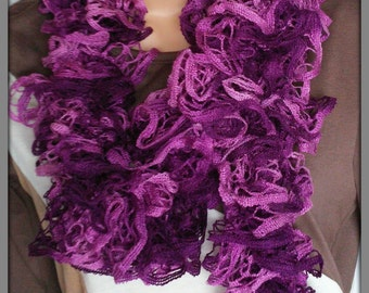Purple ruffle scarf, Knitted scarf, Frilly scarf, Hand knitted neck warmer, Womens knit ware