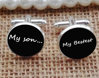 my son cufflinks, father's cufflinks, custom any text, photo, personalized cufflinks, custom wedding cufflinks, groom cufflinks, tie clips