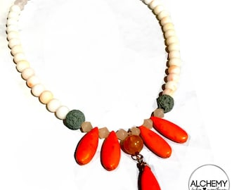 Aromatherapy Orange Howlite drops Diffuser Necklace