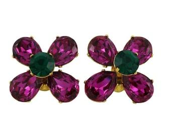 YVES SAINT LAURENT * Gorgeous vintage jeweled domed earrings