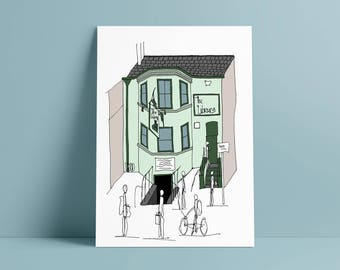 THE LIBRARY PUB, Oxford A5 print