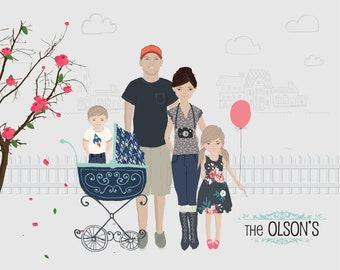 Personalized Family Portrait Illustrations Print, Couple, pets, Wedding Gift, Wall Decor, Custom Family Avatars, Namesakes
