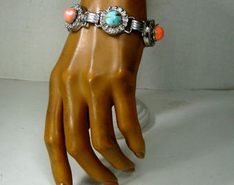 BRACELET, Faux Coral & Turquoise Art Deco Style Silver Link Bracelet, Czech Glass 1950s Geometry