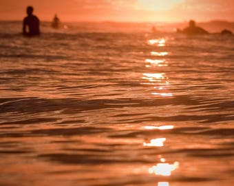 Surf Photography: Surfers Watching a Sunset on a Surfboards Photo Print on Metal, Canvas or Paper. Surf Photography Surfing Wave Beach Decor