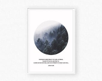 Forest print, forest photography, foggy forest, forest wall art, circle print, trees print, forest inspirational quote,  john muir quote