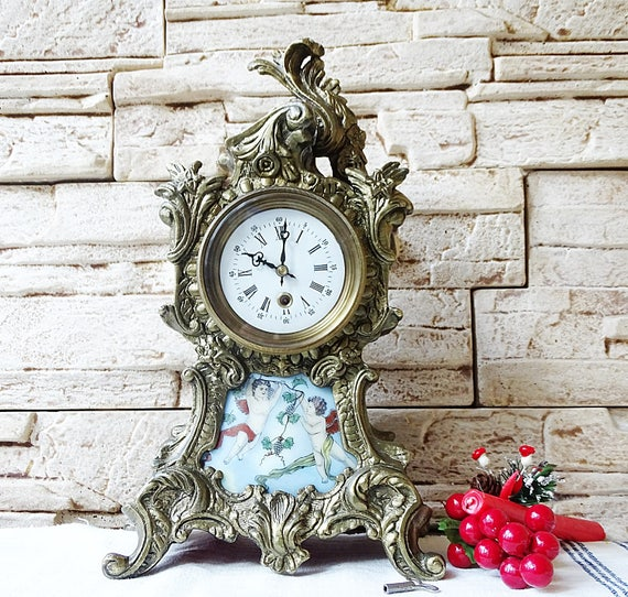 - French Vintage Bronze Mantle Clock Working Antique Desk Clock