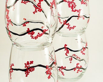 Hand painted stemless wine glasses with red winter berries, set of 4