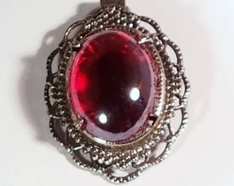Vintage Silver Filigree Iridescent Metallic Red Glass Stone Pendant