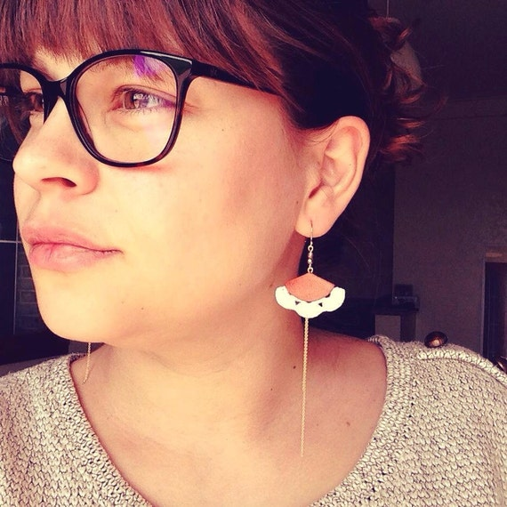 """White orange coral earrings - leather hook 14 k - graphic Chic Bohemian - wedding - model MEXICO """"Mexico Collection"""