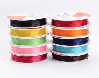 Stretch Cord - Mixed Colors - 10 rolls/18 feet each - 0.8mm thick - Only 85 cents a roll