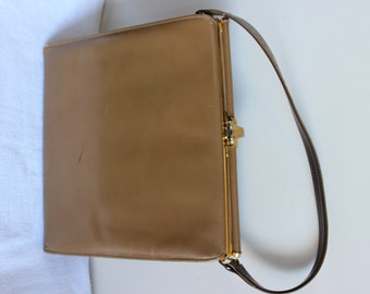 FREE SHIPPING Vintage 1950s Brown Tan Madman Purse Bag