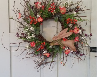 Spring Floral Wreath With Burlap Bunny