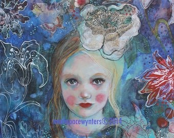 Botany In Blue ACEO  Open edition reproduction by Maria Pace-Wynters