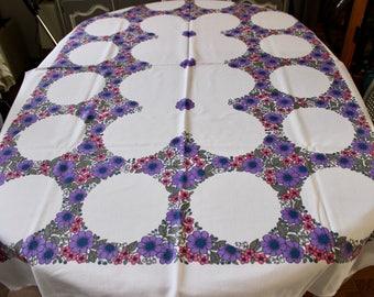 "Vintage Dunmoy Ireland Fabulous Retro Floral Tablecloth 45.5"" x 66"""