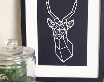 Antelope in cut paper illustration - style minimalist