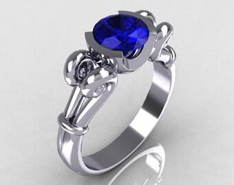 Modern Antique 10K White Gold 1.0 Carat Round Blue Sapphire Designer Solitaire Ring R122-10WGBS
