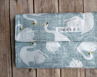 Diaper Clutch- Swan Lake, Diaper Clutch with Changing Pad, Diaper Holder, Diaper Clutch Pockets, Flora, Polka Dots, Vintage, Baby Girl