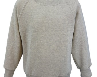 Grey Marl Sweatshirt, cotton/polyester, raglan sleeves, soft brushed inside for warmth and comfort.   Made in England.  6 childs sizes. W10
