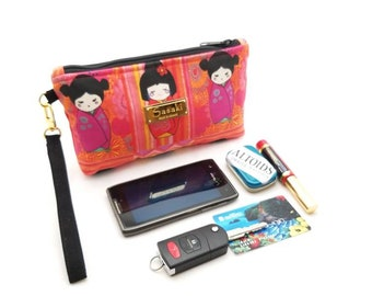 Kokeshi Doll Wristlet - iPhone 6+, Samsung 8+