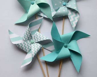 Green pinwheels of water, mint - baptism decoration, baby shower, birthday, wedding