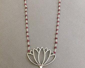 Large Sterling silver Lotus Necklace, Lotus petal charm, Garnet gemstone necklace, buddhist jewelry , Meditation, Yoga Necklace, Lotus411