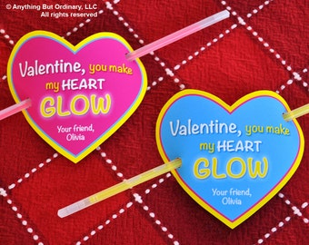 Glow Stick Valentines, Heart Glow Stick Cover, Editable Glowing Valentine Card, INSTANT DOWNLOAD, printable digital file