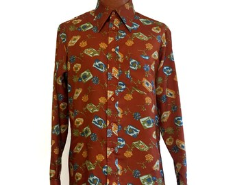 Vintage 70s Disco Button-Down Roses & Cologne Graphic by Narratifs Large // Polyester // Button-Up // Groovy // Long Collar